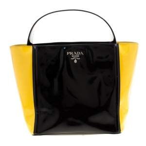 Prada Black/Yellow Patent Leather Top Handle Bag