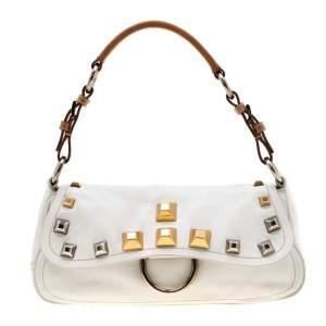 Prada White/Tan Leather Studded Shoulder Bag