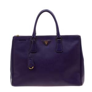 حقيبة يد برادا سحاب مزدوج كبيرة جلد فاخر سافيانو بنفسجية