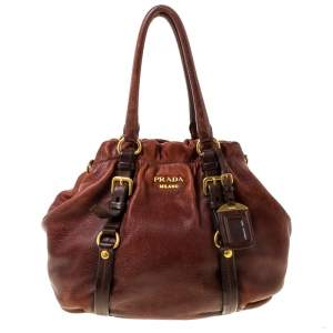 Prada Copper Leather Vitello Daino Hobo