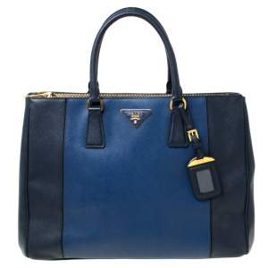 Prada Blue Two-Tone Saffiano Lux Leather Large Double Zip Tote