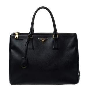 حقيبة يد برادا سحاب مزدوج كبيرة جلد فاخر سافيانو سوداء