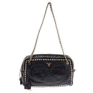 Prada Black Leather Studded Chain Shoulder Bag