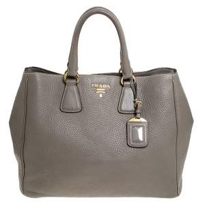 Prada Grey Leather Vitello Daino Tote