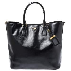 Prada Black Patent Leather Vernic Shopper Tote