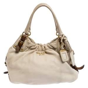 حقيبة برادا جلد أبيض أوف وايت
