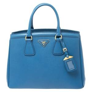 Prada Blue Saffiano Lux Leather Parabole Tote