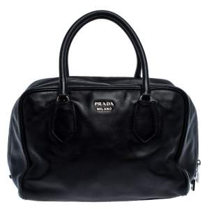 Prada Black Leather Bauletto Bag