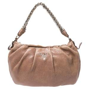 Prada Brown Shimmering Leather Chain Hobo