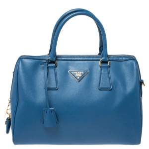Prada Blue Saffiano Lux Leather Boston Bag