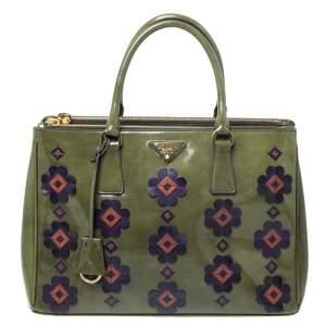 حقيبة برادا جلد لامعة فيوري خضراء بسحاب مزدوج متوسطة