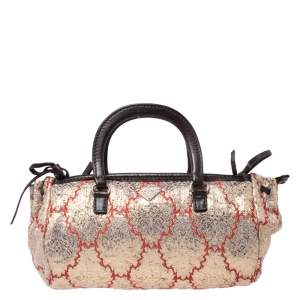 Prada Multicolor Fabric and Leather Brocade Satchel