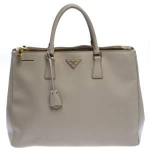 Prada Beige Leather Executive Double Zip Tote