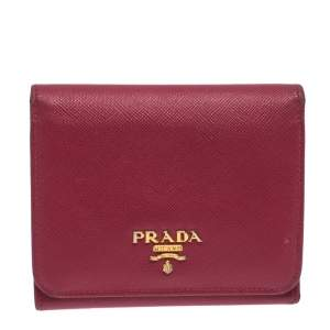Prada Pink Saffiano Leather Trifold Wallet