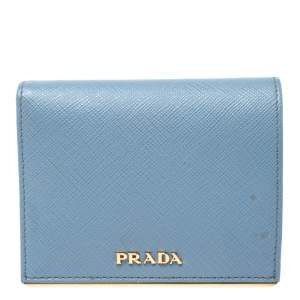Prada Astrale Saffiano Metal Leather Bifold Wallet