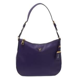 Prada Purple Saffiano Lux Leather Zip Hobo