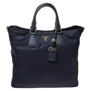 حقيبة يد برادا جلد سافيانو و تيسوتو أزرق كحلي