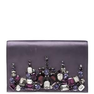 Prada Purple Satin Embellished Crystals Clutch