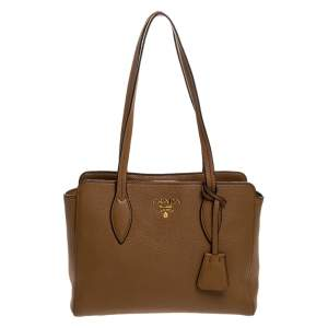 Prada Tan Vitello Leather Tote