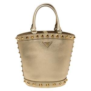 Prada Metallic Gold Saffiano Vernice Studded Bucket Bag