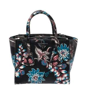 Prada Black Floral Print Saffiano Leather Double Zip Tote.