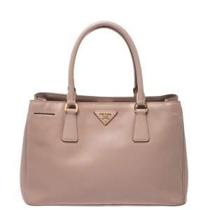 حقيبة يد برادا Galleria صغيرة جلد سافيانو فاخر نود