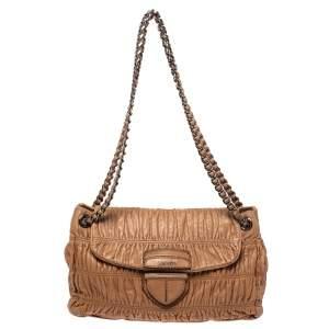 Prada Brown Nappa Gaufre Leather Flap Shoulder Bag