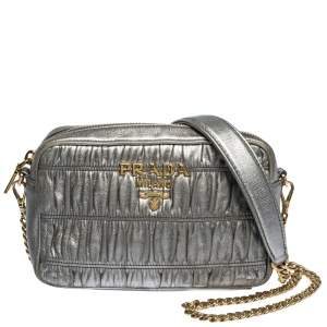 Prada Metallic Grey Matelasse Leather Camera Shoulder Bag