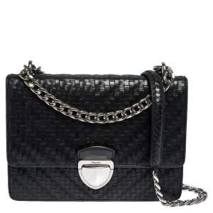 Prada Black Woven Leather Madras Chain Flap Bag