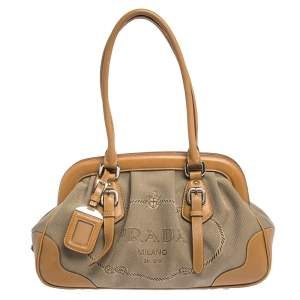 Prada Brown/Beige Canvas and Leather Frame Doctor Satchel