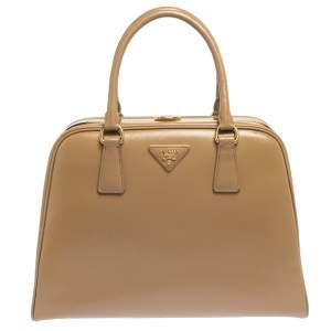 Prada Beige Saffiano Venice Leather Pyramid Frame Top Handle Bag