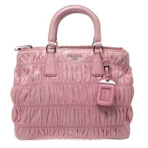 Prada Pink Gaufre Leather Double Zip Tote