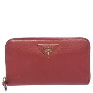 Prada Red Saffiano Lux Leather Zip Around Wallet