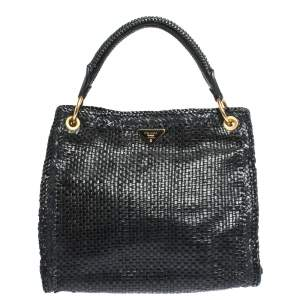 Prada Black/Blue Woven Madras Leather Shopping Tote