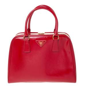 Prada Red Saffiano Vernice Leather Pyramid Frame Top Handle Bag