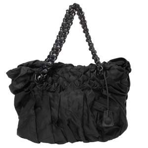 Prada Black Tessuto Nylon Origami Pleated Tote