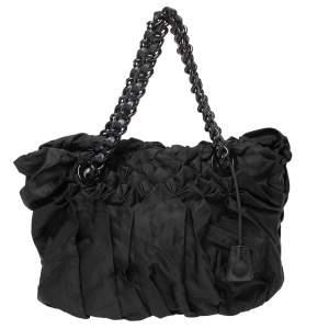 حقيبة يد برادا اوريغامي طيات نايلون تسوتو أسود
