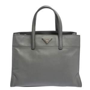 Prada Grey Saffiano Lux Leather Double Handle Tote