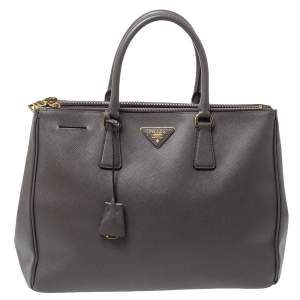 Prada Grey Saffiano Lux Leather Large Double Zip Tote