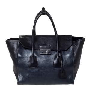Prada Black/Blue Glace Leather Large Twin Pocket Tote