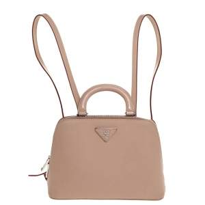 Prada Beige Saffiano Lux Leather Promenade Backpack