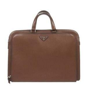 Prada Brown Saffiano Leather Business Bag