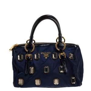 Prada Blue/Black Nylon and Patent Leather Jewel Embellished Boston Bag