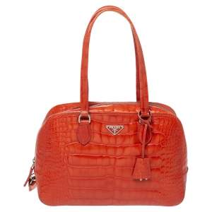 Prada Orange Shine Croc Embossed Leather Bauletto Satchel