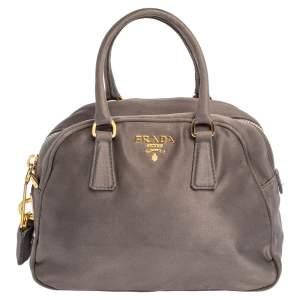 Prada Grey Satin Mini Promenade Crossbody Bag