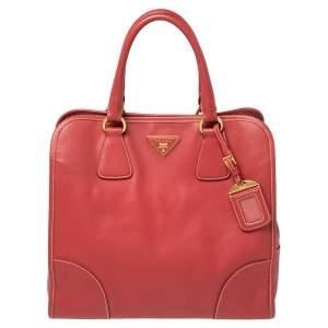 Prada Red Saffiano Lux Leather Tote