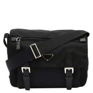 Prada Black Canvas Leather Messenger Bag