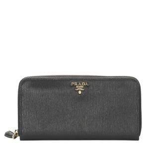 Prada Black Leather Vitello Move Zip Wallet