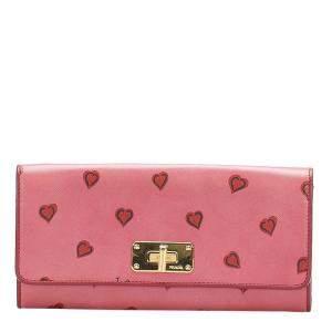 Prada Pink Heart Saffiano Leather Wallet