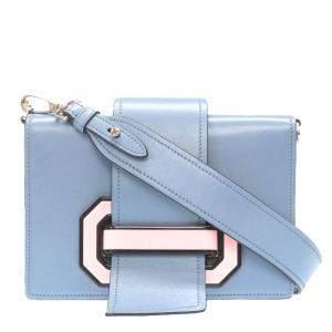 Prada Blue Leather Plex Ribbon Shoulder Bag